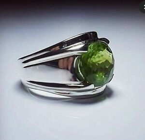 Solid 925 Sterling Silver Peridot Gemstone Boys Gift Mens Ring Jewelry RZ