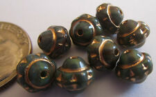 49 New Czech Glass 7mm Olive Green Saturn Beads w/Gold Etching