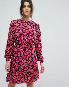 Stunning Warehouse Poppy Print Casual Day Evening Occasion Dress Size UK 10