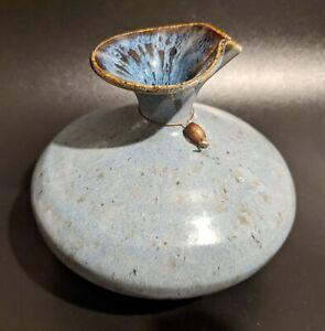 GORGEOUS Blue & Gray Artisan Studio Pottery Cruet Bottle - Signed - Cottagecore