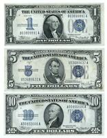 1934 $1 1934D  $5  1934  $10   SILVER CERTIFICATES - ALL 3  NICE NOTES ONE PRICE