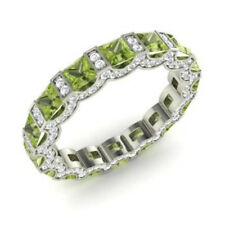Round 14K Solid White Gold 3.88 Ct Natural Diamond Real Peridot Rings Size M N O