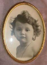 Cadre porte photo ovale bois doré & photo enfant bébé sous verre Années 30 40