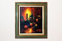 Vintage Still Life Oil Painting of Wine and Fruit by Stu, 1970s