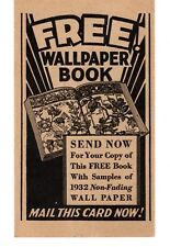 1932 MONTGOMERY WARD & CO. WALLPAPER BOOK (CATALOG)  REQUEST POST CARD