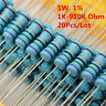 20Pcs 1W 1 Watt Metal Film Resistor ±1% 1K -910K Ω Ohm 1 K - 910 K Free Shipping