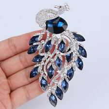 Gorgeous Peacock Sapphire Blue Austrian Crsytal Brooch Pin Silver Plated Women