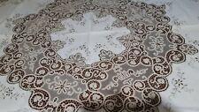 Antica prestigiosa tovaglia tonda in lino,ricami e pizzo cantù realizzata a mano