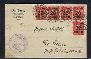 """INFLA: MiNr. 280 MeF auf POSTKARTE ab WISMAR 1923 mit ABART: """"d"""" hinter höher"""