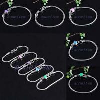 Heart LOVE Snake Chain Cuff European Charms Bracelet Bangle Wristband Jewelry