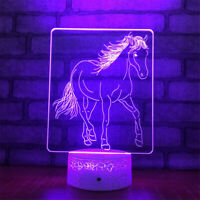 Horse 3D Night Light 7 Color Change LED Desk Lamp Touch Room Decor