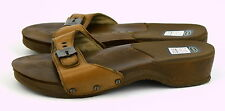 DR. SCHOLL'S Brown ORIGINAL Leather Upper Wedge Heel Slip-On Sandals ~ Sz 10M