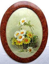 Chromo gravure Art Nouveau dans médaillon signée C. KLEIN: Panier de Marguerites