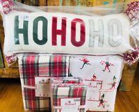 Pottery Barn Kids Morgan FULL QUEEN Duvet Elf Sheet Set Shams Ho Ho Ho Pillow