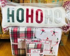 Pottery Barn Kids Morgan FULL QUEEN Duvet Elf Sheet Set Shams Ho Ho Ho Pillow