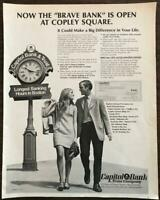 ORIGINAL 1968 Capitol Bank & Trust PRINT AD Now Open at Copley Square
