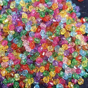 4mm Multicoloured Acrylic Bicone Beads - Jewellery Making