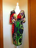 Anthropologie Ranna Gill Medium Dress Floral Knit Kimono Sleeve V-Neck Size M