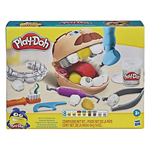 Play-Doh Drill 'n Fill Dentist Metallic Colored Compound 10 Tools, 8 Cans