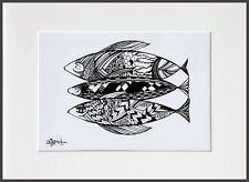 Three Fish LE Print No4/50 of Original Ink Drawing by Hahonina A4+Mount Kit