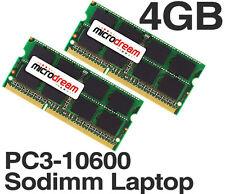 4 GB (2x2 GB) PC3-10600 204pin 1333 Mhz DDR3 SODIMM Laptop Memory Ram