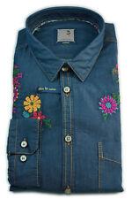 Seidensticker Hemd Schwarze Rose blau / jeans mit Blumenstick Gr. 40 / 471569.18