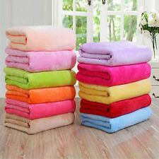 Micro Plush Fleece Blanket Super Soft Warm Throw Rug Sofa Bedding Solid Color