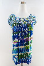 Plenty by Tracy Reese Cap Sleeve Criss Cross Mesh Top Multicolor Size M