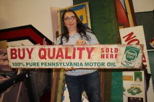"""Large Vintage Quaker State Motor Oil Gas Station 48"""" Metal Sign"""