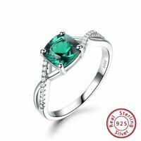 Echt 925 Sterling Silber Damen Ring Smaragd Stein Jahrestag women silver rings.