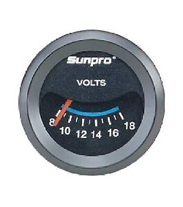 "Sunpro 2"" Voltmeter Black / Black Bezel New CP7985 0-18V Authorized Distributor"
