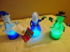 LOT OF 2 SNOWMAN NOEL JOY & ONE SANTA MERRY BRITE LED  DECOR LIGHT # 972741