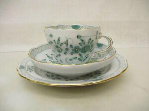 x-18023Meissen indisch grün Kaffeegedeck 1.Wahl sehr guter Zustand