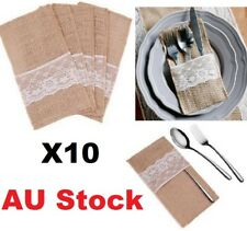 AUStock X10 Burlap Jute Hessian Lace Wedding Cutlery Bag Tableware Holder Pocket