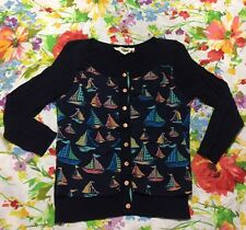 HWR Anthropologie Navy Blue With Sailboats Cardigan Size XS EUC Rare