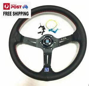 "14"" CARBON STYLE Steering Wheel Fit 6 hole Hub Like Vertex Nardi Momo Sparco NRG"