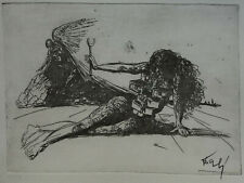Limited edition etching surreal Figure with drawers, signed Salvador Dali w DOCS