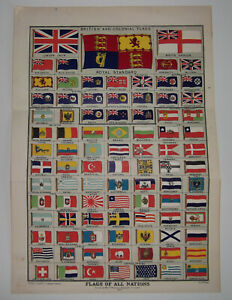 BRITISH & COLONIAL FLAGS ~ Flags Of All Nations ~ Vintage 1901 Colour Print