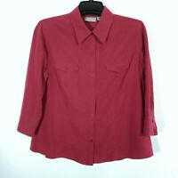CROFT & BARROW Womens Red Blouse Size L 3/4 Sleeve Button Front Shirt Top