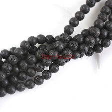 "10mm Natural Black Lava Rock Round Shape DIY Gemstone Loose Beads Strand 15"""