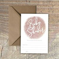 BABY SHOWER INVITATIONS BLANK ROSE GOLD GLITTER PRINT EFFECT PACKS OF 10