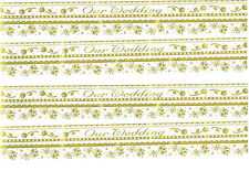 SRM Press Border OUR WEDDING Gold Scrapbook Stickers 4 Sheets