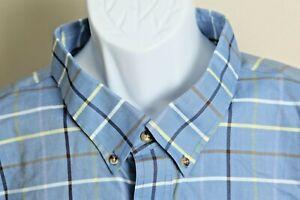 Cabela's Men's blue, yellow and khaki plaid long sleeve shirt 5XLT Tall 5XL