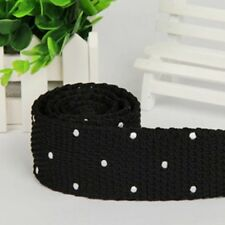 Black White Polka Dot Knitted Tie Spotted Formal Menswear UK Seller