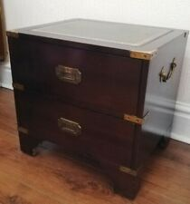 Vintage Campaign Wine Chest Side Table Military Leather Topped Brass Bound