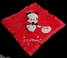 Doudou Mickey DISNEY Plat Carré Rouge 1st First Christmas NEUF
