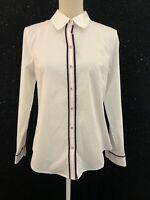 Paperwhite Womens Sz 8 White Cotton Anchor Button Stripe Button Down Shirt NWT
