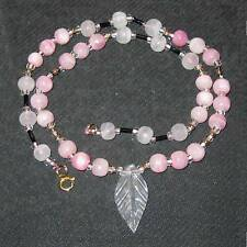 Dyed pink onyx bead necklace B37