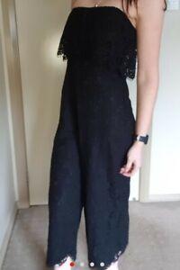Dotti Size 8 Fits Small Black Lace Jumpsuit