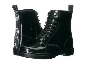 Michael Kors Tavie Womens Flat Rain Bootie Black Lace-up Rubber Booties Sz 9, 11